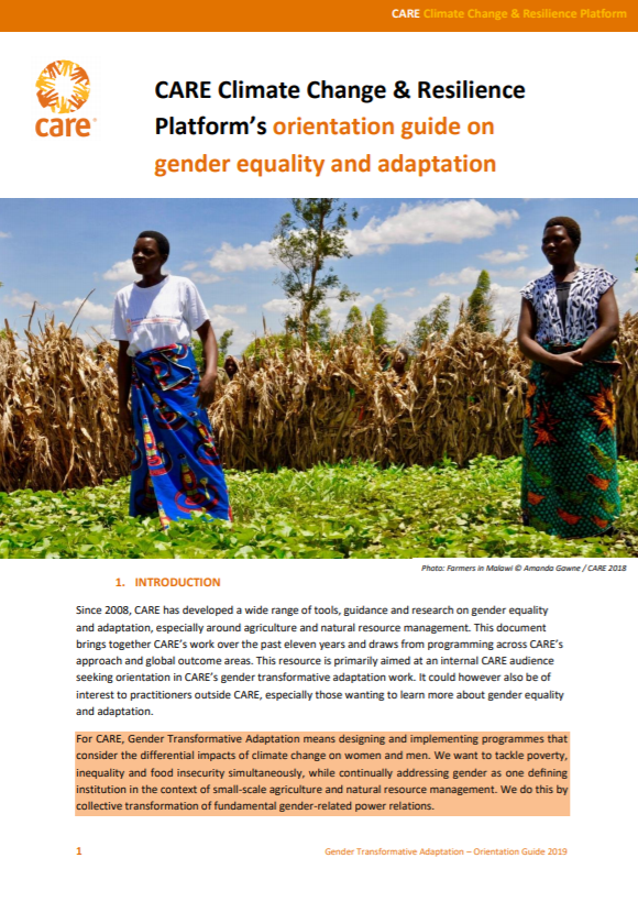 CARE Climate Change and Resilience Platform's Orientation Guide on Gender Equality and Adaptation