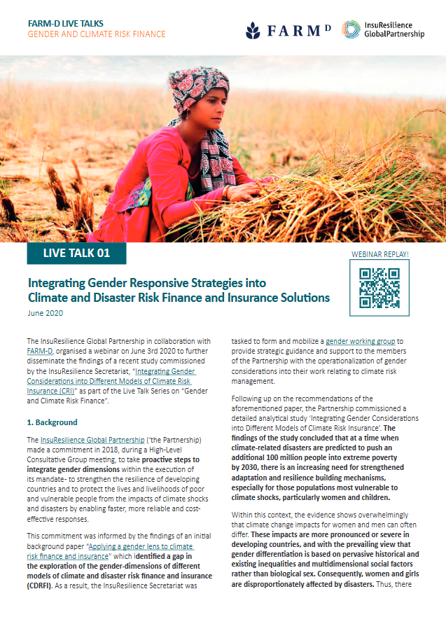Live TALK Series on Gender and Climate Risk Finance and Insurance: LIVE TALK 01: Integrating Gender Responsive Strategies into Climate and Disaster Risk Finance and Insurance Solutions