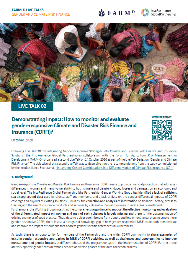 Live TALK Series on Gender and Climate Risk Finance and Insurance: LIVE TALK 02 Demonstrating Impact: How to monitor and evaluate gender-responsive CDRFI?